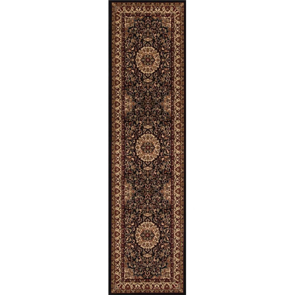 Persian Classics Isfahan Black 2 ft. x 8 ft. Runner Rug