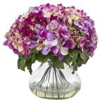 Nearly Natural Hydrangea with Large Vase