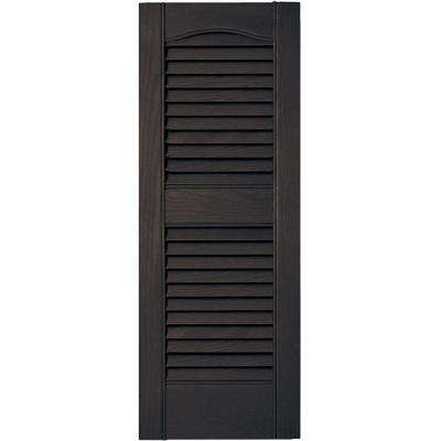 12 in. x 31 in. Louvered Vinyl Exterior Shutters Pair #010 Musket Brown
