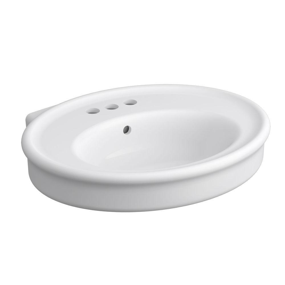 KOHLER Willamette 4.625 in. Vitreous China Pedestal Sink Basin in White with Overflow Drain