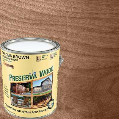 1-qt. Semi-Transparent Oil-Based Tahoma Brown Exterior Wood Stain