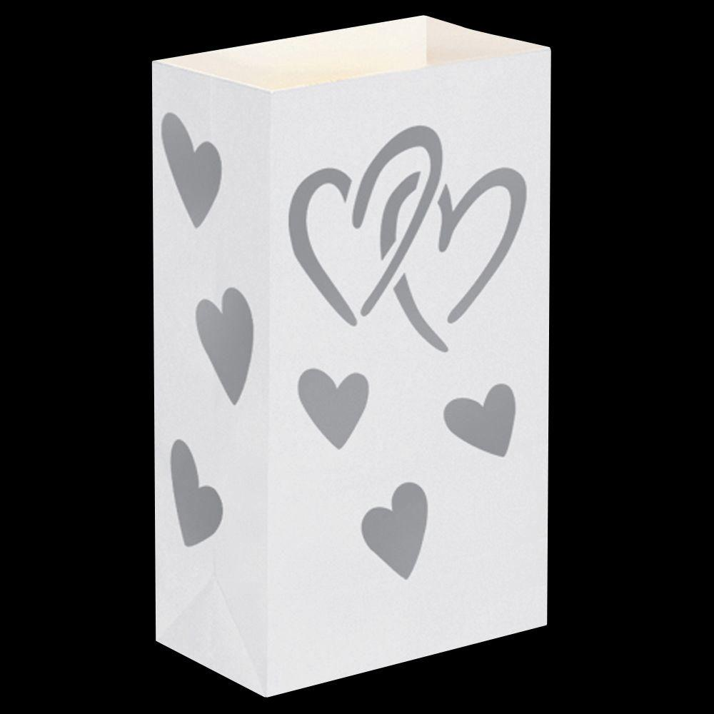 Silver Hearts Flame Resistant Luminaria Bags (Set of 12)