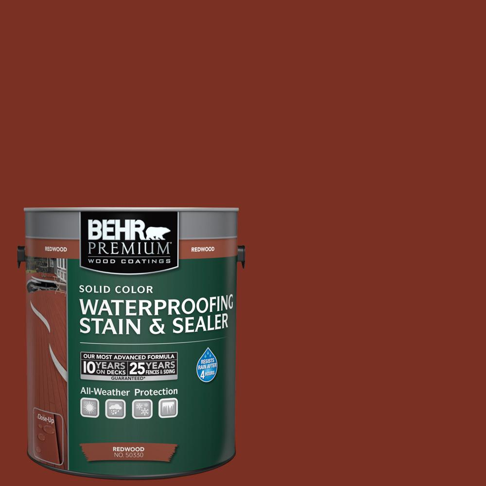 BEHR Premium 1 gal. #SC-330 Redwood Solid Color Waterproofing Exterior Wood Stain and Sealer