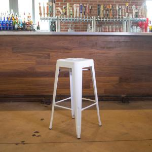 Loft Style 30 in. Stackable Metal Bar Stool in White