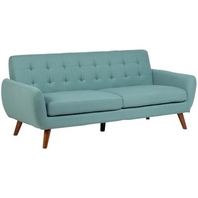 Daphne 80 in. Teal Microfiber 4-Seater Lawson Sofa with Round Arms