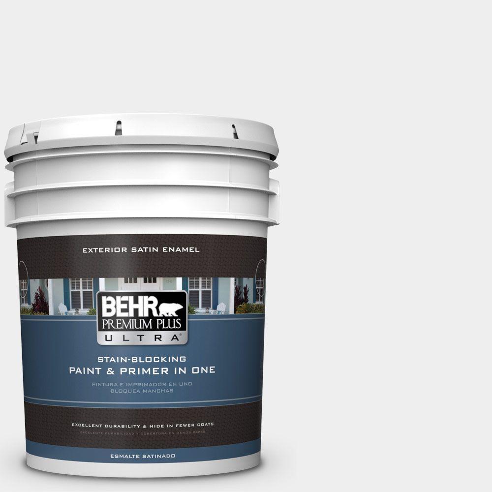 BEHR Premium Plus Ultra 5-gal. #W-D-610 White Glove Satin Enamel Exterior Paint