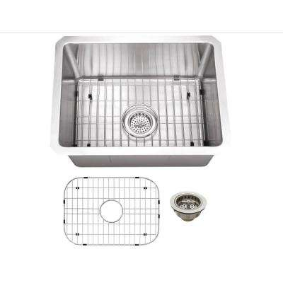 All-in-One Undermount Stainless Steel 15 in. 0-Hole Single Bowl Kitchen Sink