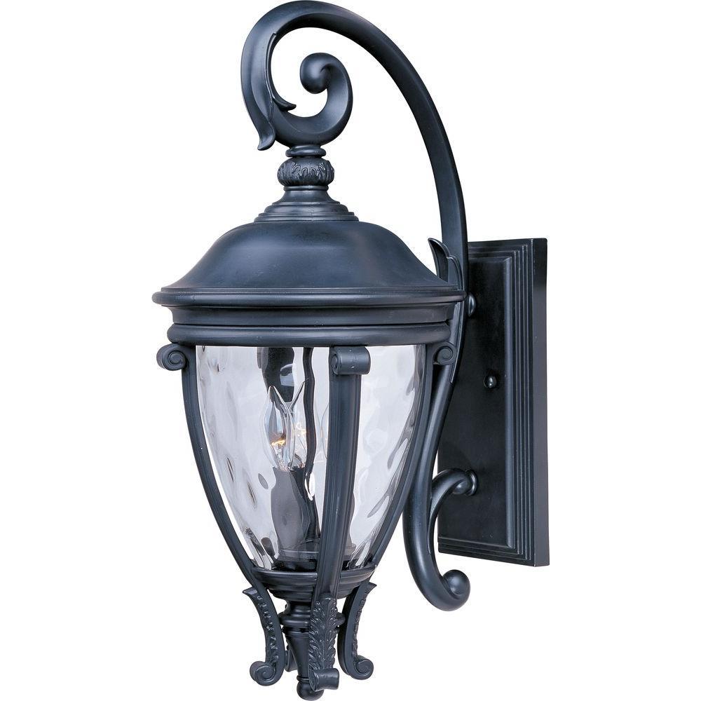 Camden Vivex 3-Light Black Outdoor Wall Lantern Sconce