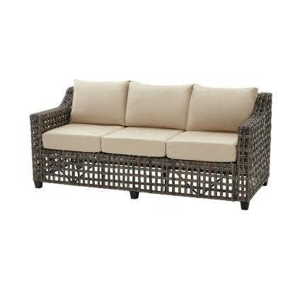 Briar Ridge Brown Wicker Outdoor Patio Sofa with Sunbrella Beige Tan Cushions
