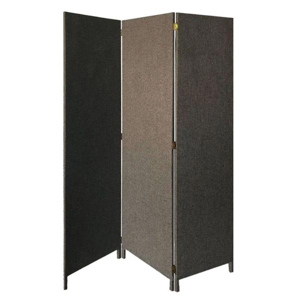 5.91 ft. Gray 3-Panel Fabric Upholstered Wooden Screen with Straight Legs