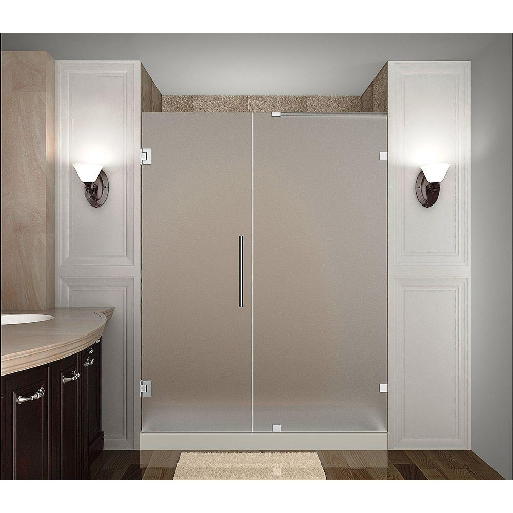 Aston Nautis 57 in. x 72 in. Completely Frameless Hinged Shower Door with Frosted Glass in Chrome