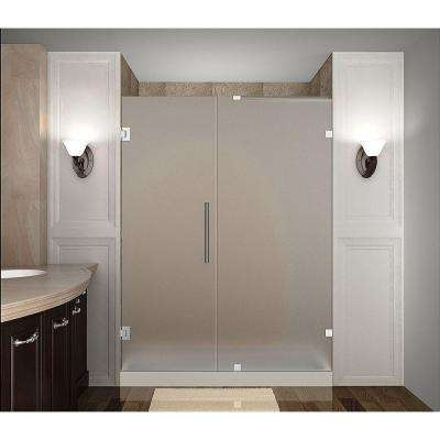 Nautis 58 in. x 72 in. Completely Frameless Hinged Shower Door with Frosted Glass in Chrome