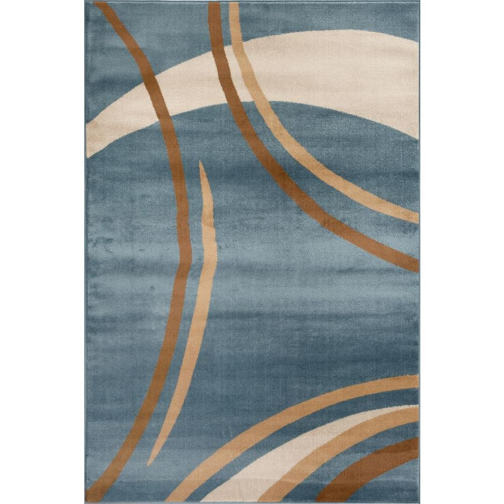 Contemporary modern wavy circles blue 2 ft x 3 ft indoor area rug