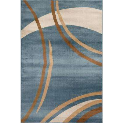Contemporary Modern Wavy Circles Blue 5 ft. x 7 ft. Indoor Area Rug