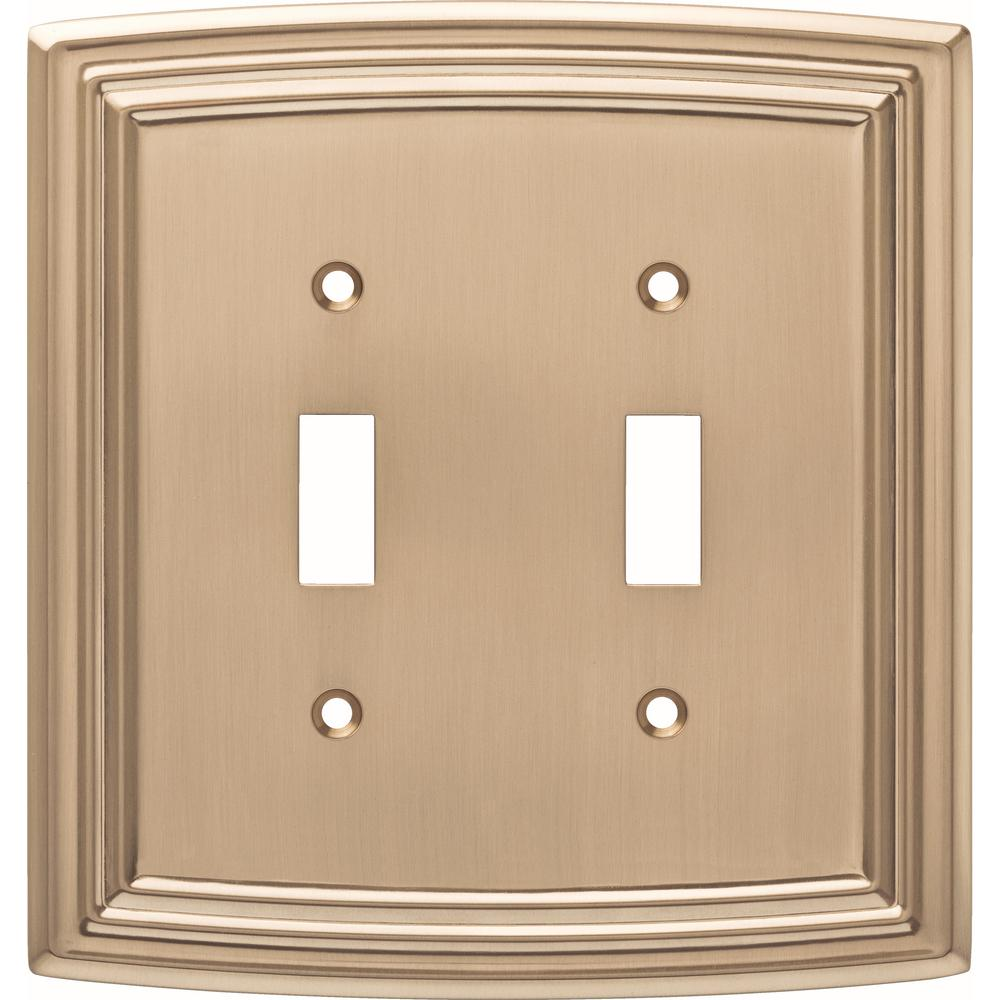 Liberty Emery Decorative Double Light Switch Cover Champagne Bronze
