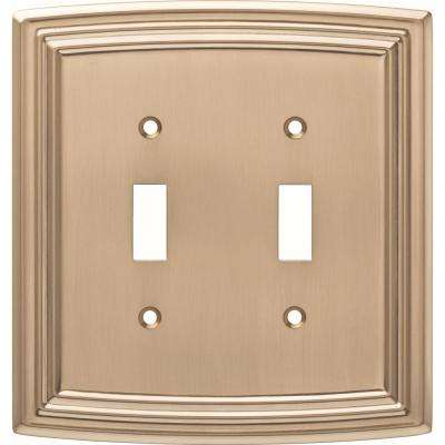 Emery Decorative Double Light Switch Cover, Champagne Bronze