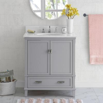 Irving 30 in. W Bath Vanity in Gray with Ocean Mist Engineered Stone Vanity Top with Pre-Installed Porcelain Basin