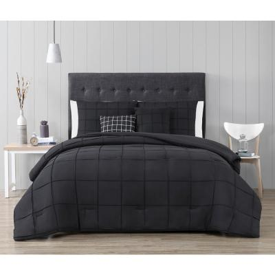 Nelli 5-Piece Black Queen Box-Pinch Pleat Comforter Set with Throw Pillows