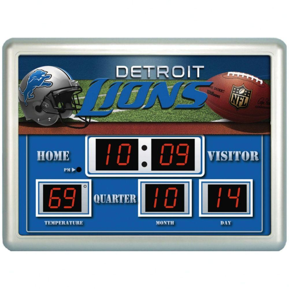 null Detroit Lions 14 in. x 19 in. Scoreboard Clock with Temperature