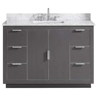 Austen 49 in. W x 22 in. D Bath Vanity in Gray with Silver Trim with Marble Vanity Top in Carrara White with Basin