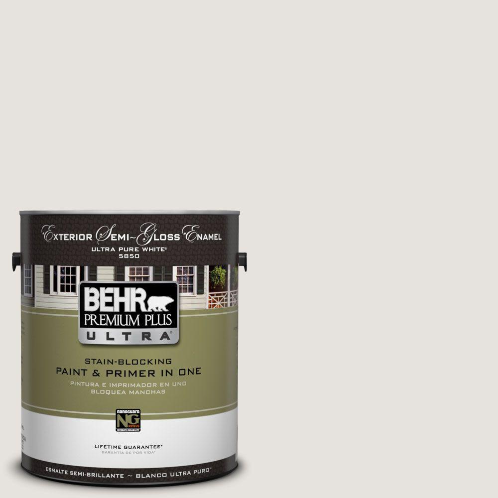 BEHR Premium Plus Ultra 1-Gal. #UL250-13 White Opal Semi-Gloss Enamel Exterior Paint