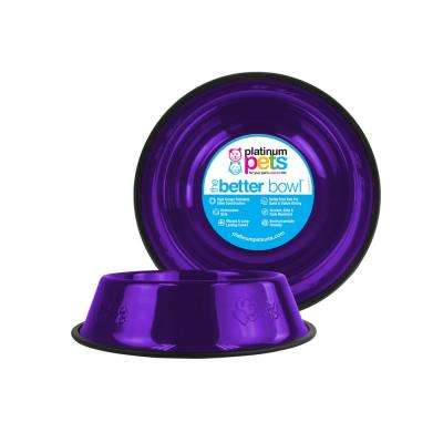 3.5 Cup Embossed Non-Tip Stainless Steel Dog Bowl, Electric Purple