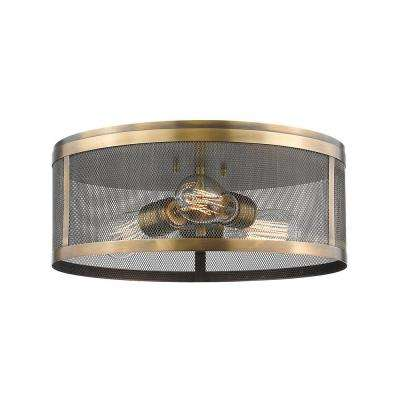 Rakel 3-Light Natural Brass Flushmount with Natural Brass Steel Shade
