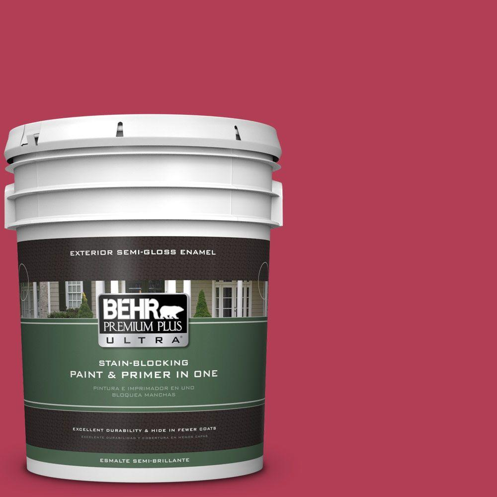 5-gal. #130B-7 Cherry Wine Semi-Gloss Enamel Exterior Paint