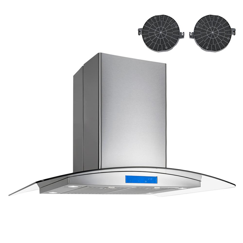 36 in ductless island range hood in stainless steel with led lighting and carbo 850666006683 ebay. Black Bedroom Furniture Sets. Home Design Ideas