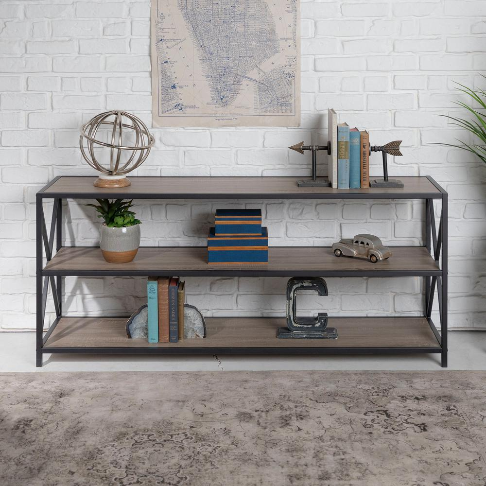 WalkerEdisonFurnitureCompany Walker Edison Furniture Company X-Frame Driftwood Wide Metal and Wood Media Bookshelf, Brown