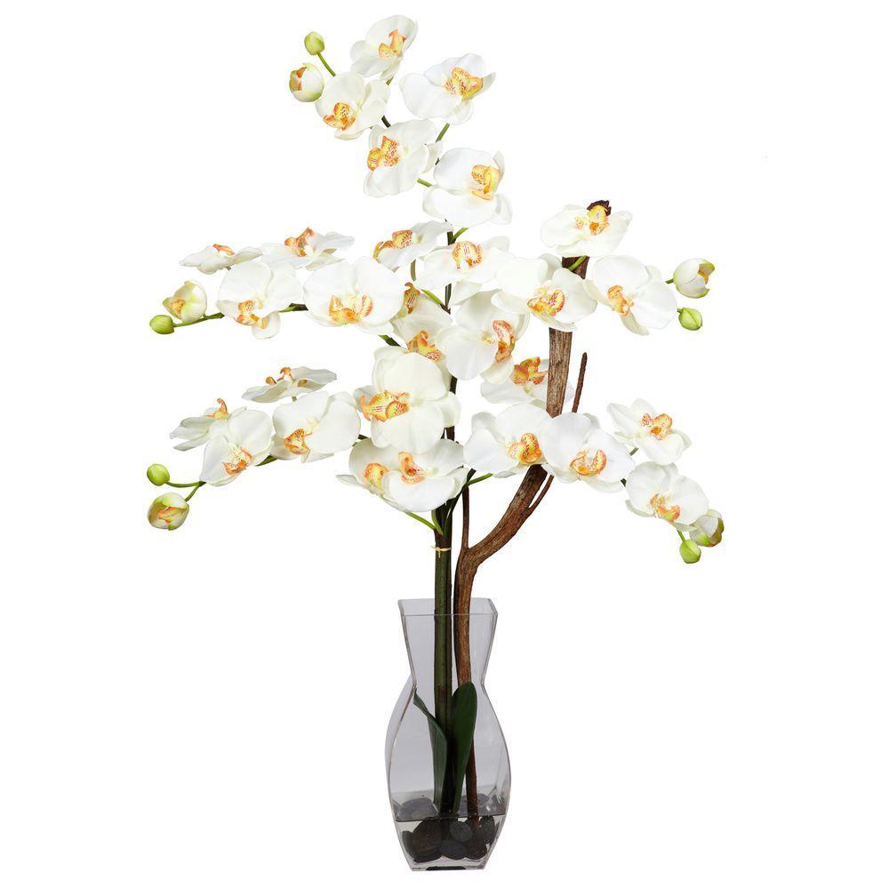 29 in. H Cream Phalaenopsis with Vase Silk Flower Arrangement