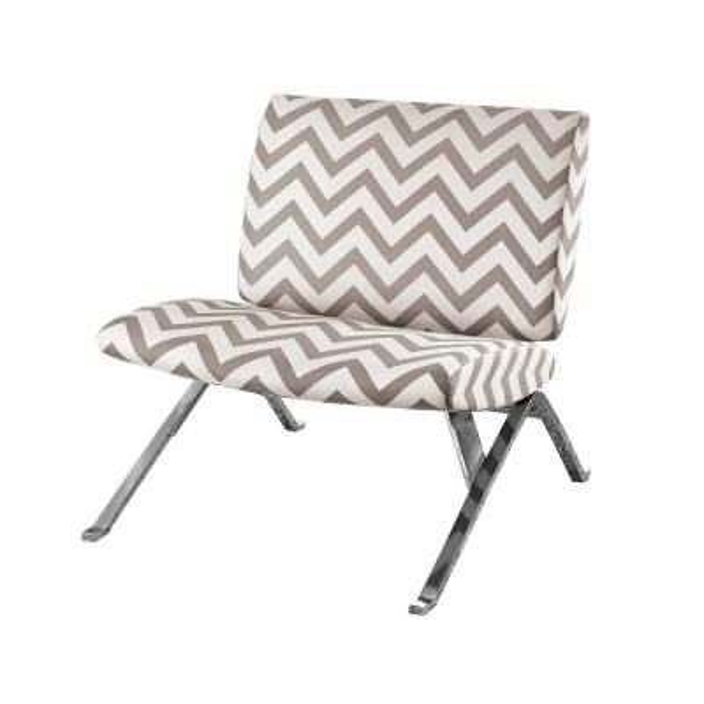 Dark Taupe Chevron Fabric Accent Chair