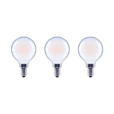 40-Watt Equivalent G16.5 Globe Dimmable Frosted Glass Filament Vintage LED Light Bulb Soft White (3-Pack)
