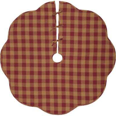 60 in. Burgundy Check Red Primitive Christmas Decor Scalloped Tree Skirt
