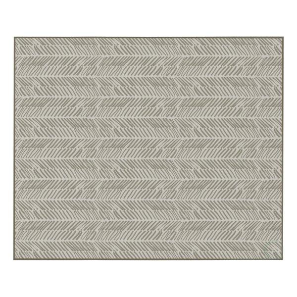 Modern Living Room with Nonslip Backing, Abstract Beige Chevron Strokes Pattern, 8 ft. x 10 ft. Large Area Rug