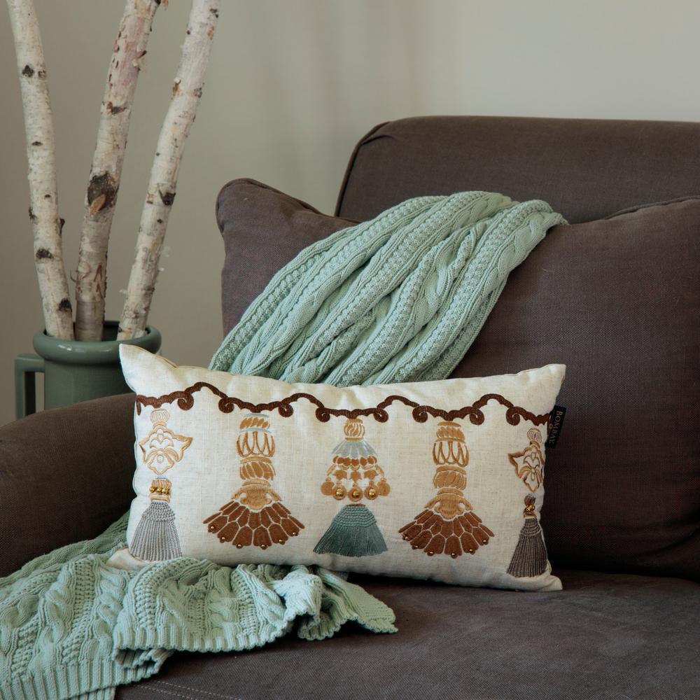 India Tassels Lumbar Toss Pillow