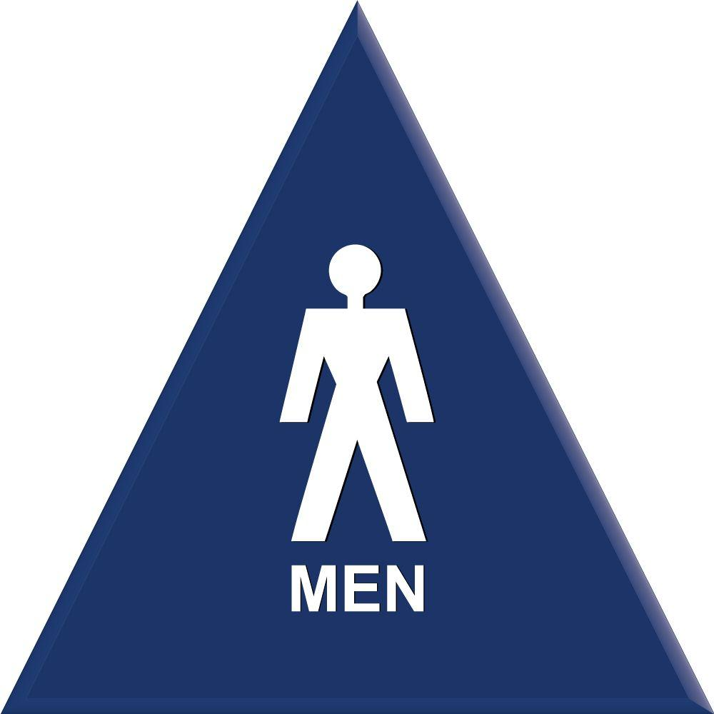 Lynch Sign 12 in. Blue Triangle with Men Symbol Sign