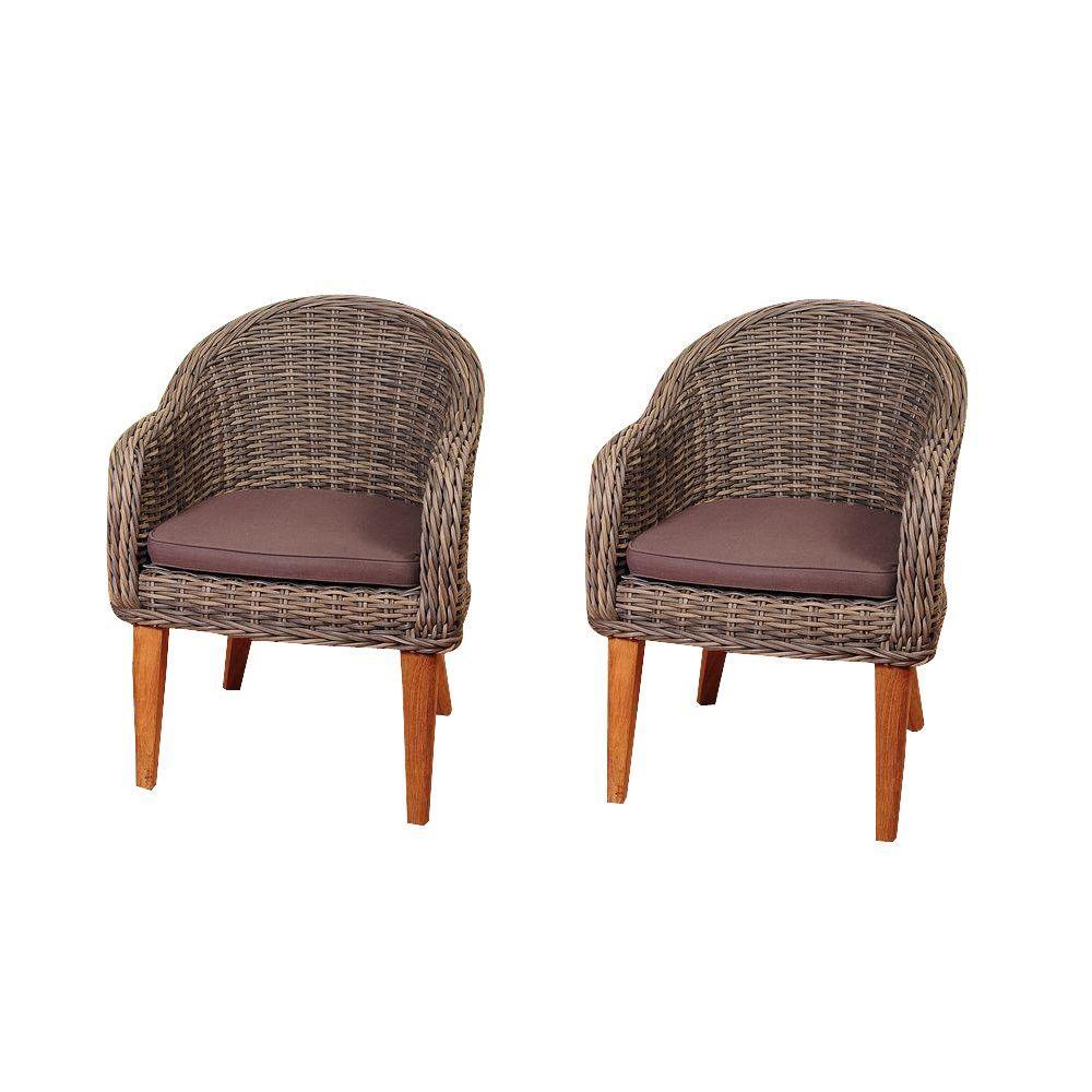 Fender 2-Piece Teak/Wicker Patio Armchair Set with Brown Cushions
