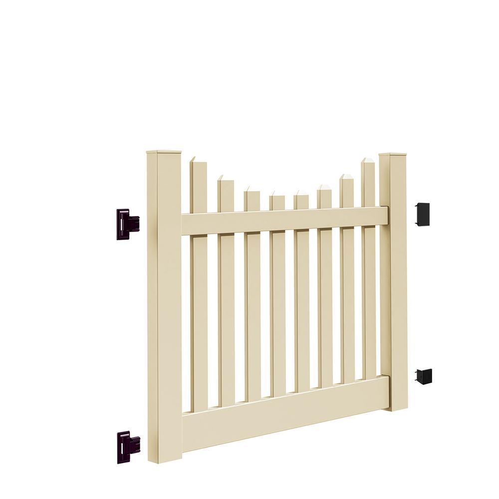 Kettle Scallop 5 ft. W x 4 ft. H Sand Vinyl Un-Assembled Fence Gate