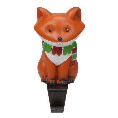 5.25 in. Fox Wearing a Scarf Christmas Stocking Holder