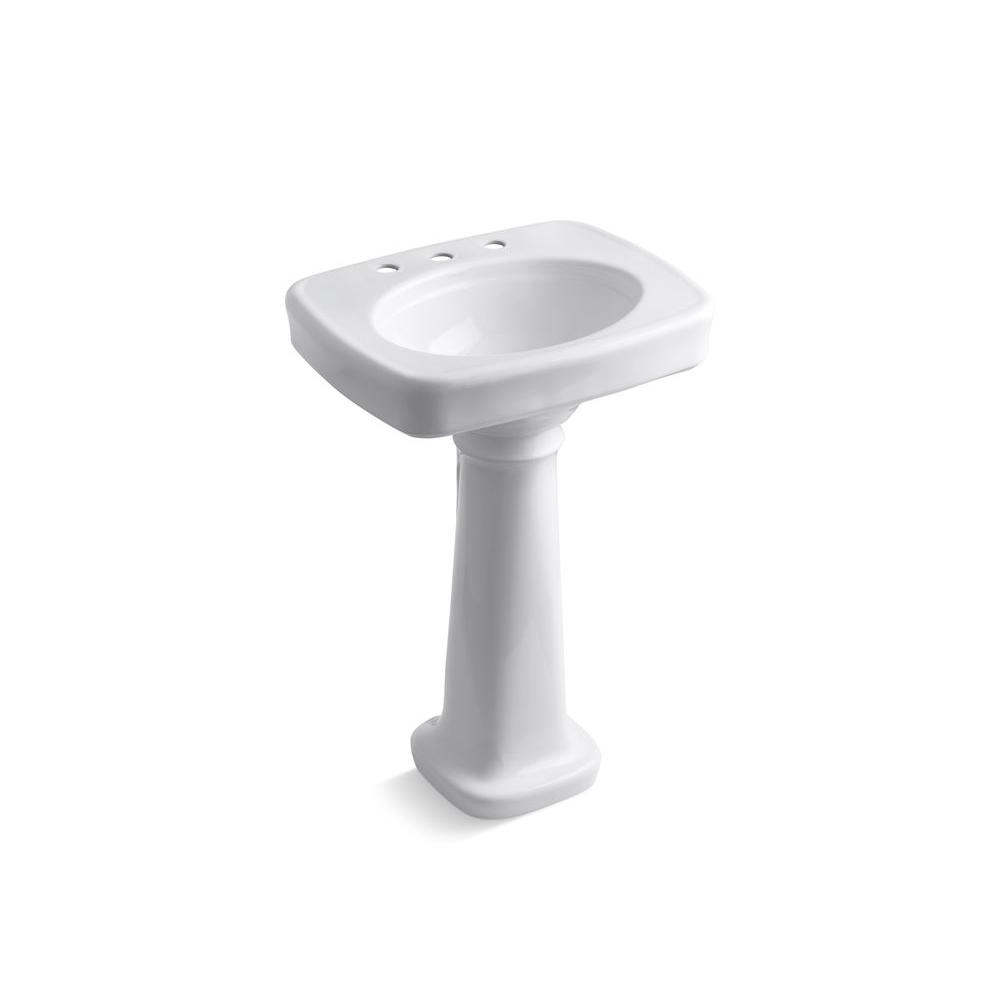 Bancroft Vitreous China Pedestal Bathroom Sink Combo in White with Overflow