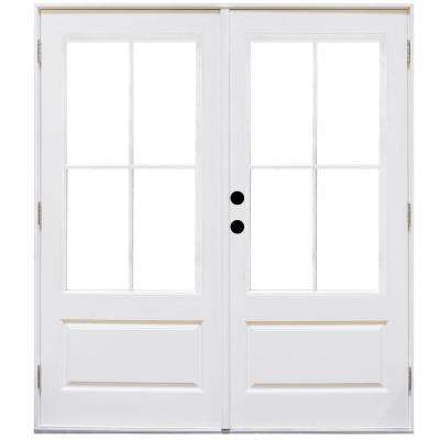 60 in. x 80 in. Fiberglass Smooth White Right-Hand Outswing Hinged 3/4-Lite Patio Door with 4-Lite SDL