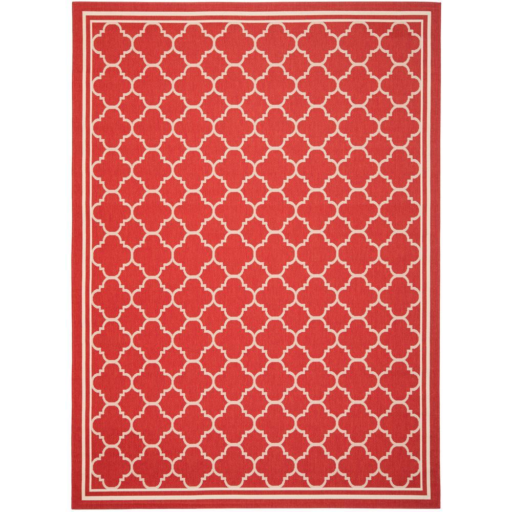 Courtyard Red/Bone 9 ft. x 12 ft. Indoor/Outdoor Area Rug