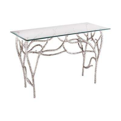 Metropolitan Nickel Plate And Clear Glass Console Table