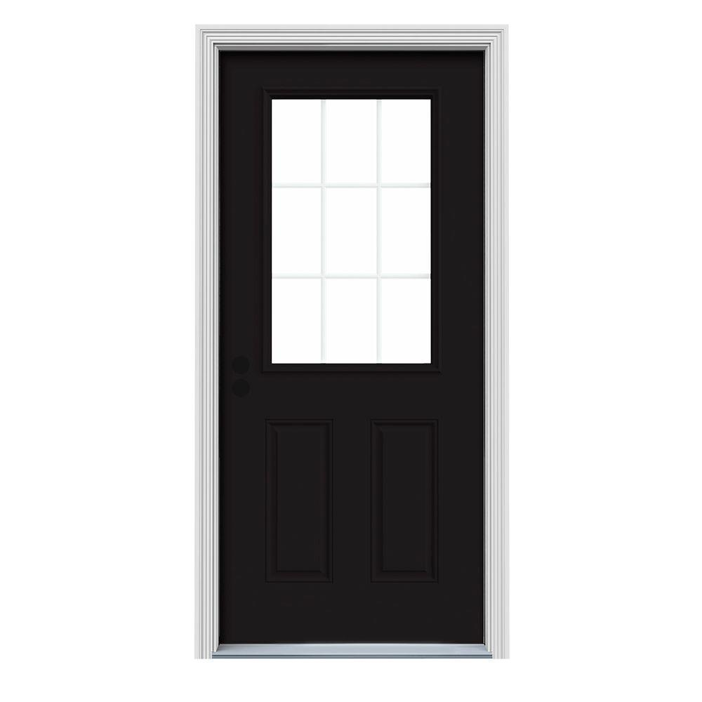 JELD-WEN 36 in. x 80 in. 9 Lite Black Painted Steel Prehung Right-Hand Inswing Front Door w/Brickmould