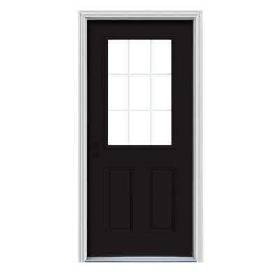 36 in. x 80 in. 9 Lite Black Painted Steel Prehung Right-Hand Inswing Front Door w/Brickmould