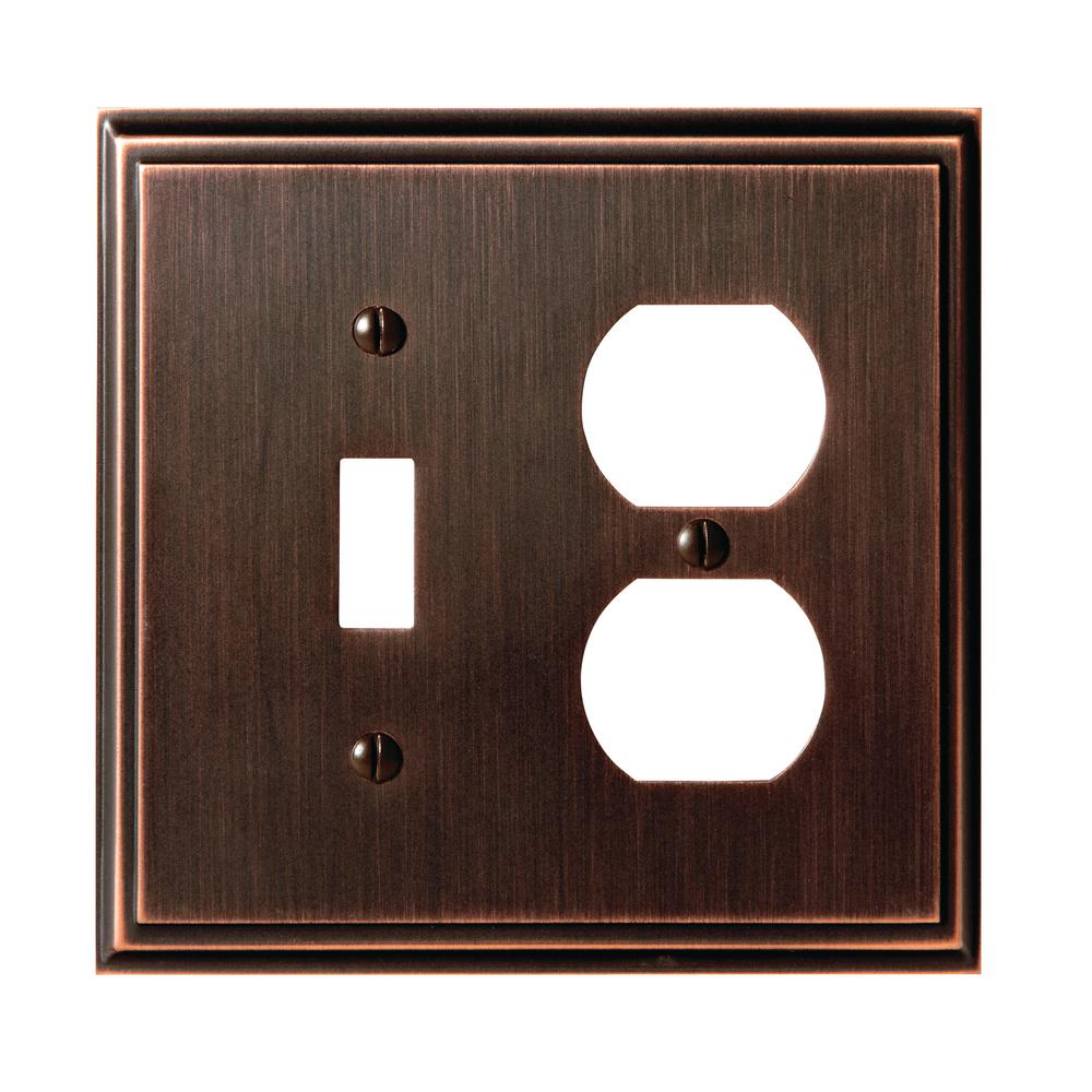 Mulholland 1-Toggle and 1-Duplex Outlet Combination Wall Plate, Oil-Rubbed Bronze
