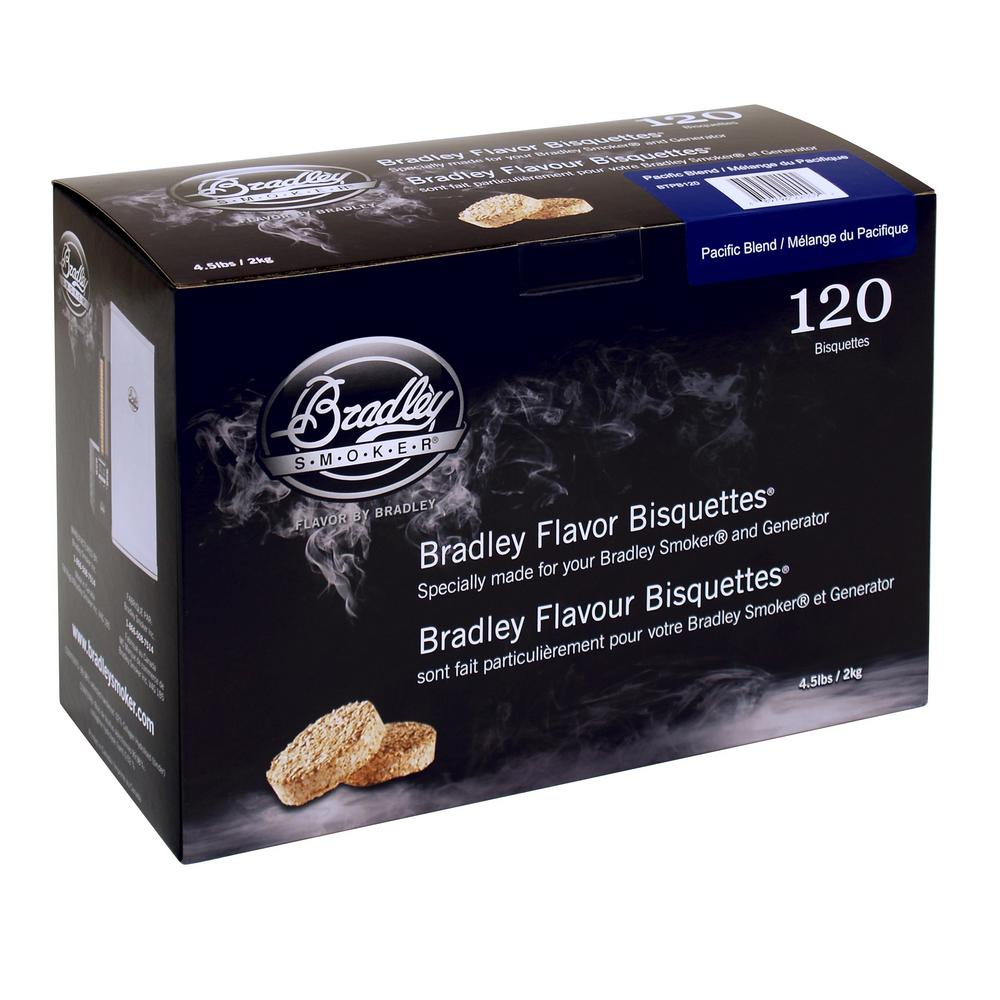 Bradley Smoker Pacific Blend Flavor Bisquettes Pacific blend wood bisquettes produce a great light smoke perfect for poultry and seafood. 120-Pack provides 40-hours of smoke (20 minutes per bisquette). This Chef inspired blend can also be used on any grill to create Smokey flavor for your foods - no need to wet.