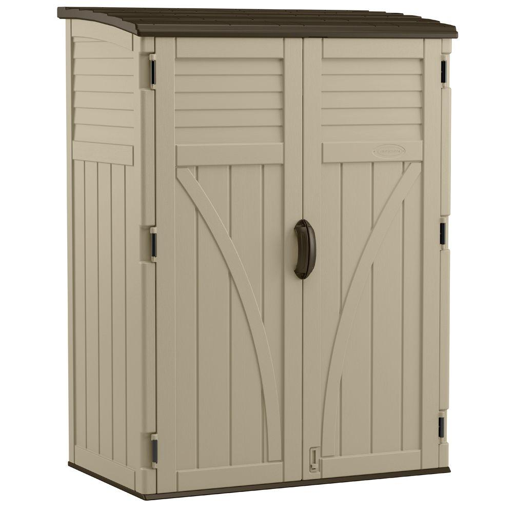 suncast 2 ft 8 in x 4 ft 5 in x 6 ft large vertical storage shed bms5700 the home depot
