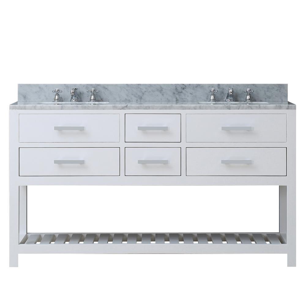 60 in. Vanity in Carrara White with Marble Vanity Top in Carrara White